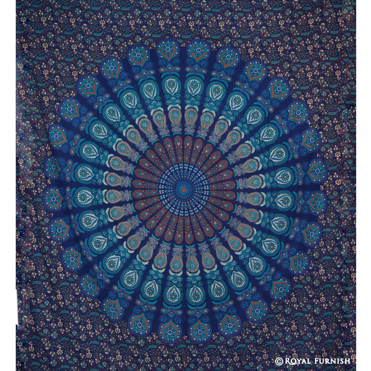 Indian Tapestry Wall Hanging blue floral psychedelic mandala medallion hippie indian tapestry