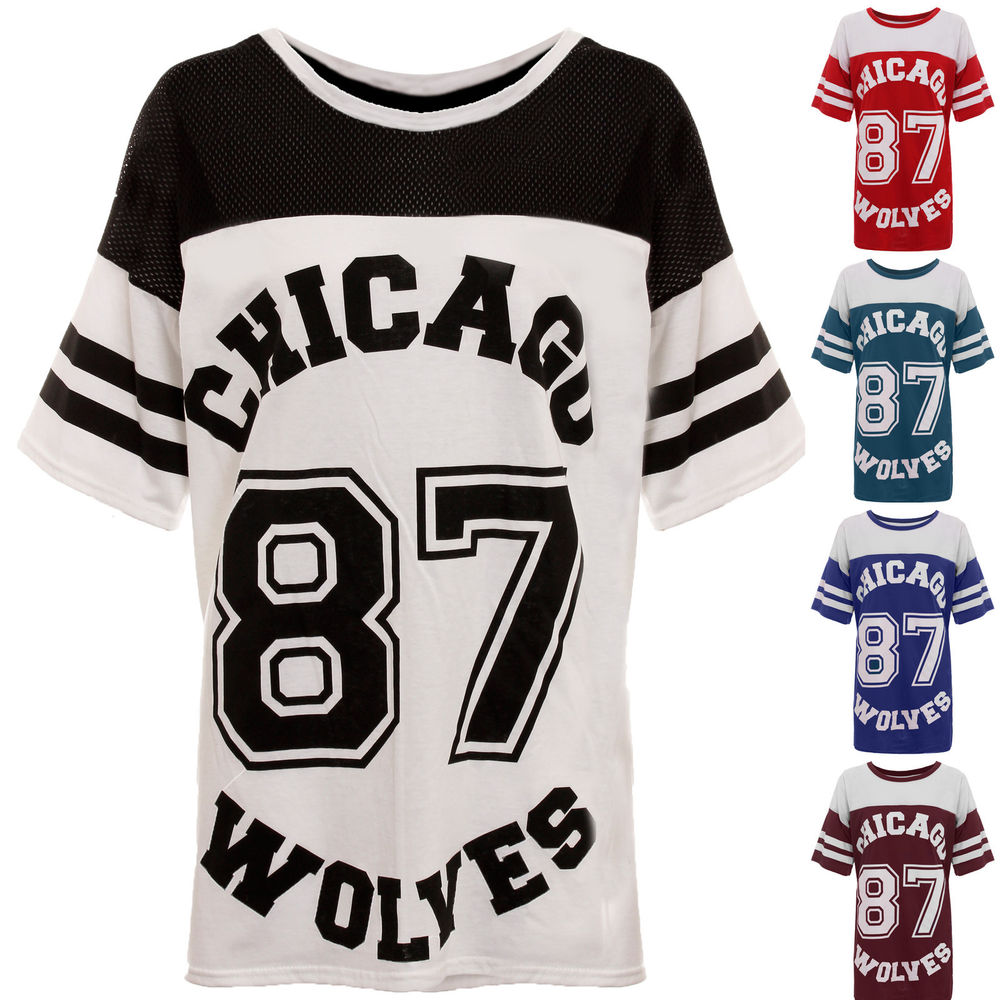 Women Ladies 87 Wolves Jersey Varsity Top Oversized Baggy Chicago T Shirt | eBay