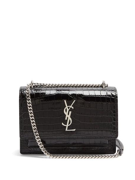 Saint Laurent cross bag leather crocodile black