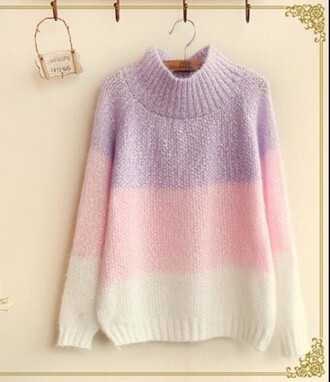 sweater jumper neck pastel pastel jumper pink purple cotton