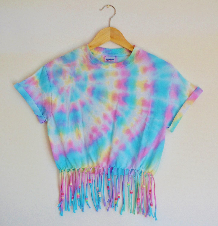 tie dye beaded tassel crop top fringed cropped t shirt. Black Bedroom Furniture Sets. Home Design Ideas