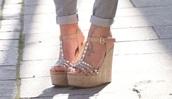 shoes,nude,studs,wedges,heels