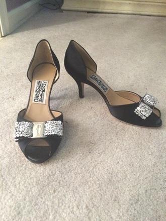 shoes black heels salvatore ferragamo sequence peep toe