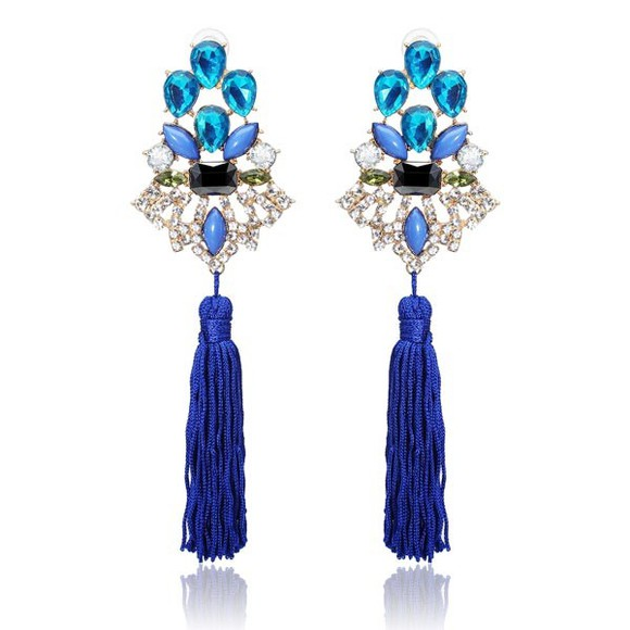 vintage jewels luxury blue crystal tassel earrings banggood