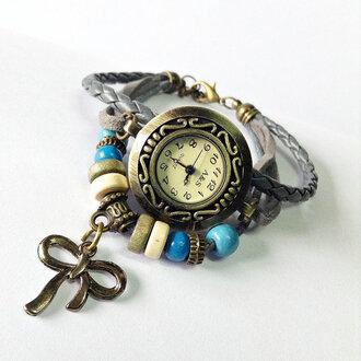 jewels charm bracelet leather watch watch vintage wrap watch ribbon charms gray