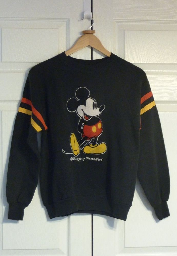 Vtg 70s 80s Mickey Mouse Ringer Sweater Walt Disney World sweat Shirt Top | eBay