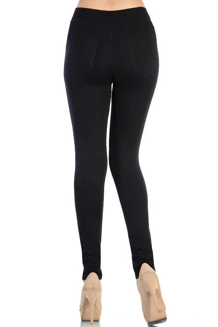 High Waist Cotton Jeggings - Black