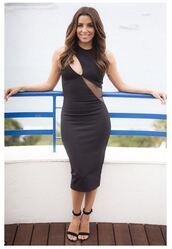 dress,midi dress,eva longoria,sandals,cut-out dress,black dress,cannes,asymmetrical dress,shoes