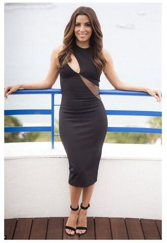 dress midi dress eva longoria sandals cut-out dress black dress cannes asymmetrical dress shoes