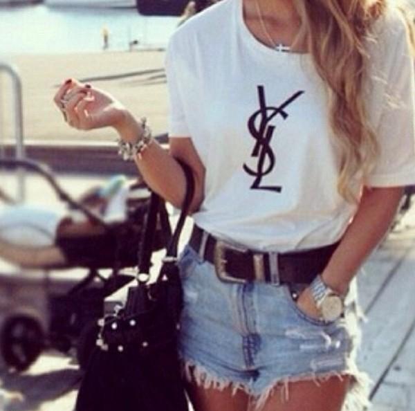 t-shirt white graphic t-shirt ysl top ysl shirt shorts bag belt