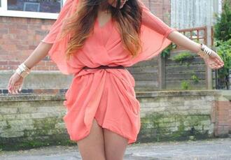 dress coral flowy pink cute perfect lovely funny dressy flirty gorgeous outfit pink belt stress cute
