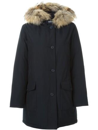 parka fur women cotton blue coat