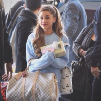 sweater ariana grande celebrity blue sweatshirt light cute top crop bag