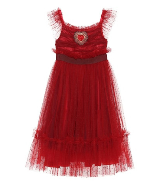 Dolce & Gabbana Kids Embellished Swiss dot tulle dress in red