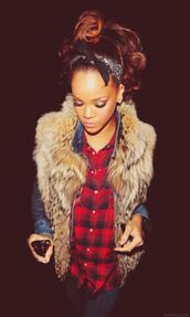 jacket,rihanna,trill,dope,swaqg,fashion,scarf,headband,head scarf,bandana,bandana print,rihanna style,celebrity style,celebrity,celebstyle for less,accessories,Accessory,coat,fur vest,denim shirt
