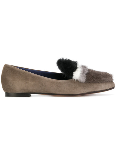 women loafers leather suede grey shoes