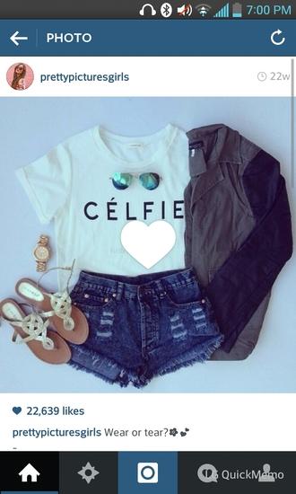 celfie sunglasses sandel sandels jacket shirt