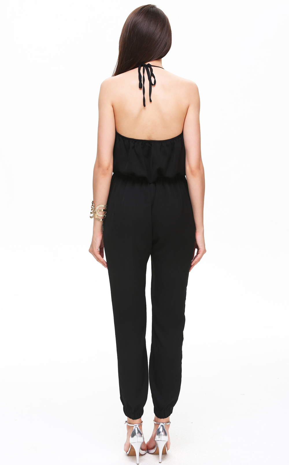 Black Spaghetti Strap V Neck Loose Jumpsuit - Sheinside.com