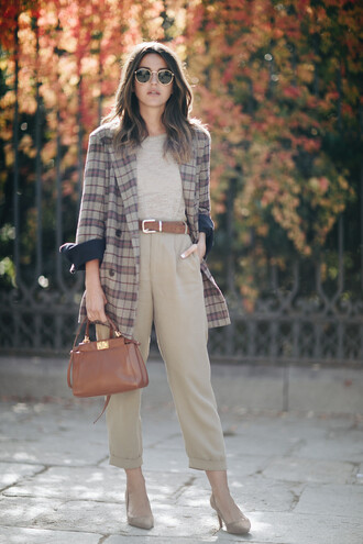 lovely pepa blogger jacket pants bag shoes sunglasses sweater plaid jacket brown bag handbag high heel pumps pumps beige pants