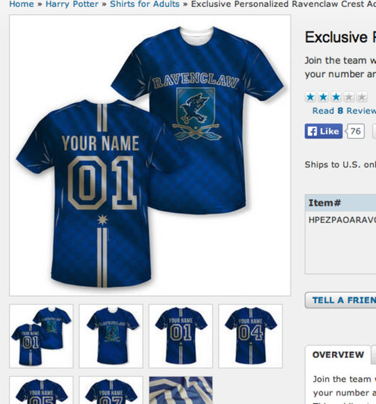 harry potter ravenclaw top jersey quidditch