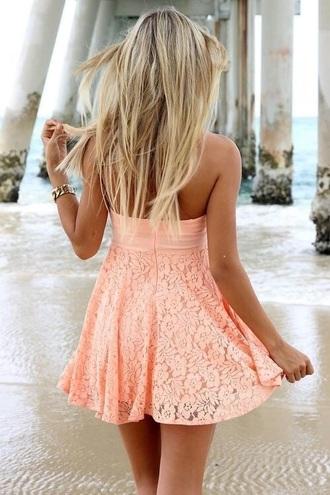 dress orange cream sundress peach flowers