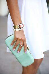 jewels,blue clutch,bracelets,ring,bag,jewelry
