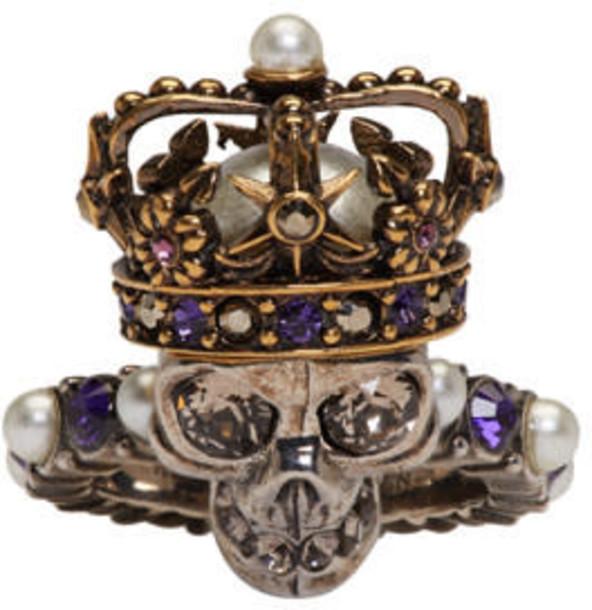 Alexander Mcqueen skull ring skull king ring silver jewels