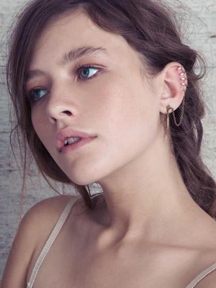 jewels piercing ear earrings chain fake
