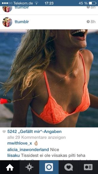 underwear orange bra bralette bikini top trianglr