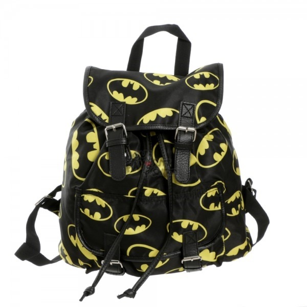 Batman toss print logos black knapsack backpack licensed dc comics