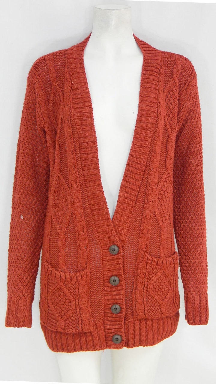 Granded Cable Knitted Long Sleeve Cardigan In Rust