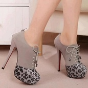 shoes,high heels,leopard print,grey,black,grey and black,booties,ankle boots,tassles,gray cheetah print,lace up high heels