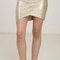 Coated asymmetrical hem bandage mini skirt