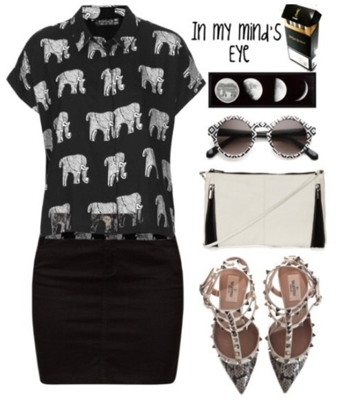 bag snake print black shoes blouse elephants black skirt sunglasses b&w