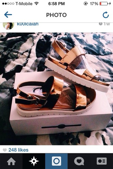 shoes straps sandals summer gold sandas