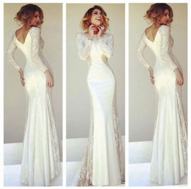 long, formal, lace dress, prom, classy, prom dress, long sleeves ...