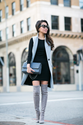 wendy's lookbook,blogger,suede boots,grey boots,thigh high boots,long sleeve dress,jacket,dress,bag,shoes,sunglasses,jewels,sleeveless coat