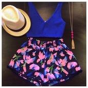 top,shorts,floral,printed shorts,blue shirt,tank top,shirt,hat,summer shorts