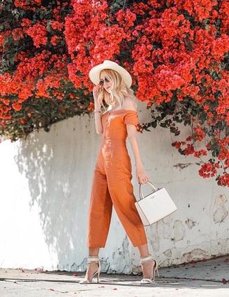 jumpsuit orange orange jumpsuit sandals white sandals bag hat off the shoulder high heel sandals sandal heels