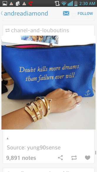pouch oversized blue quote on it