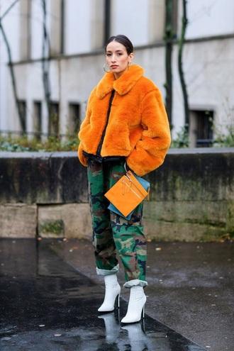 jacket orange jacket pants boots white boots bag fur jacket oversized camouflage camo pants ankle boots streetstyle