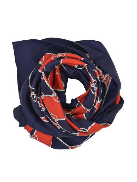 gucci scarf print silk blue red