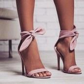 shoes,baby pink tie up heels