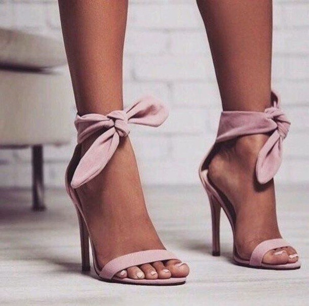shoes, baby pink tie up heels - Wheretoget