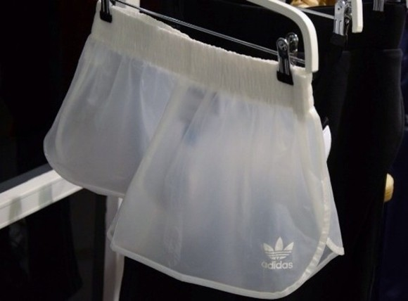 sheer shorts adidas white athletic