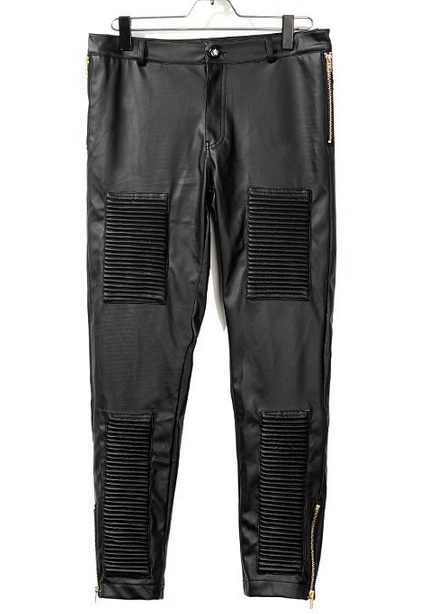 Black fashion leather pants