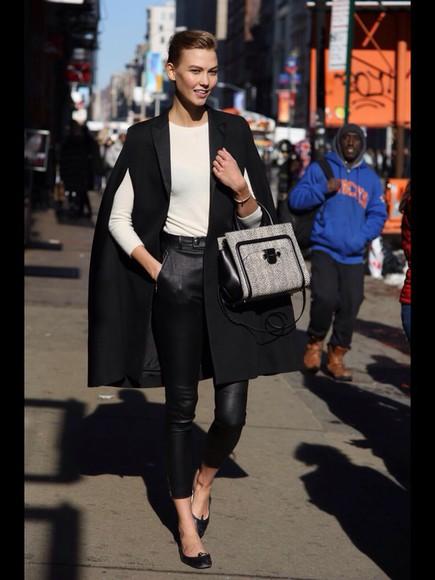 jacket model grey white models off duty cardigan jumper leather pants leather leggings flats ballerina shoe ballerina shoes cape bag designer
