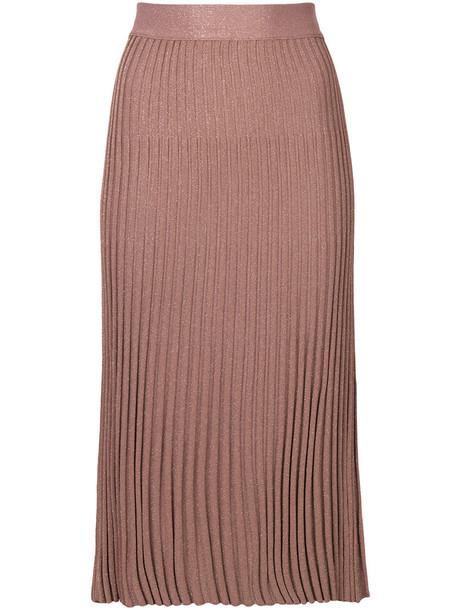 Prada - plisse midi skirt - women - Polyamide/Viscose/Metallic Fibre - 38, Pink/Purple, Polyamide/Viscose/Metallic Fibre