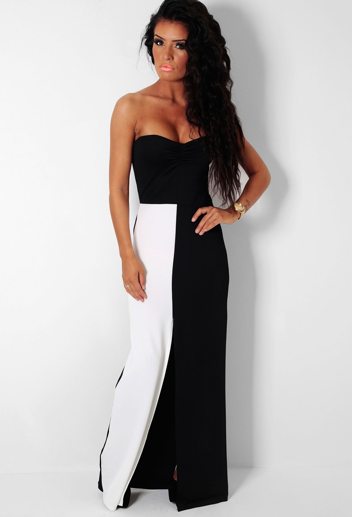 Masquerade black & white front split maxi dress