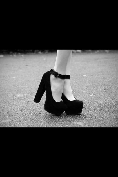 shoes platform shoes black heels